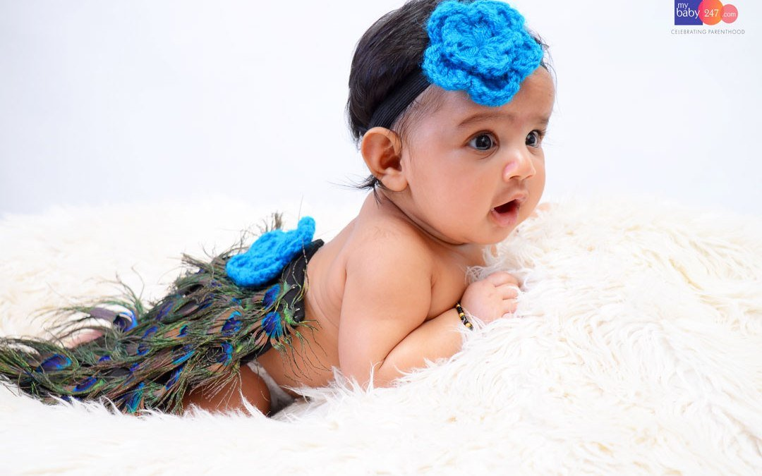 Peacock Theme Baby Photoshoot